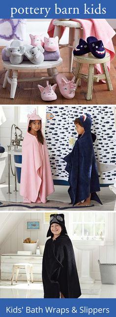 Kids' Bath Wraps & Slippers