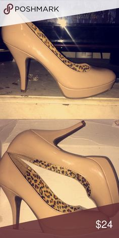 "Nude Kenneth Cole heels Nude heels, leopard print inside, worn once. I believe they are 4"". Kenneth Cole Shoes Heels"