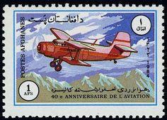Stamp: Antonov AN-2 (Afghanistan) (40th anniv of National Aviation) Mi:AF 1353,Sn:AF 1090,Yt:AF 1175 #colnect #collection #stamps