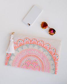 Pink Orange Laptop Bag Case Sleeve Macbook by theAtlanticOcean