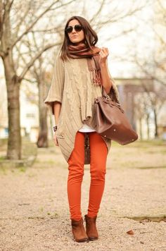 Fall/Winter Outfit: A chunky knit oversized/slouchy hi-low sweater paired with bold/colored/orange skinnies/pants - the perfect weekend outfit