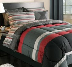 Black Gray Red Stripes Boys Teen Twin Comforter Set (5 Piece Bed In A Bag) by Kreative Kids. $82.09. The set includes 1- Twin Size Comforter, 1- Flat Sheet, 1- Fitted Sheet, 1- Pillowcase & 1- Sham.. Geometric styling makes the Bed in a Bag Bedding Set the perfect choice for any bedroom or dorm. This complete bedroom ensemble features an all-over printed stripe design in shades of red, black and gray along with reversible options of a coordinating diamond design. The set includ...
