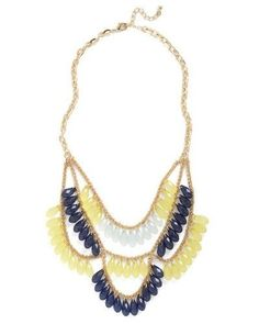 "Lia Sophia 16-19"" Refresh Necklace Gold w/Navy, Yellow, Mint -  NEW! SALE! #LiaSophia #Bib"