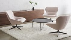 Ginkgo Lounge Mid Back chairs shown with Valet Table and Hue Storage from Davis Furniture