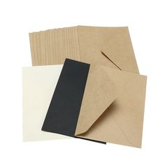 Kicute 20pcs Classical Brown White Black Kraft Blank Mini Paper Window Envelopes Wedding Invitation Envelope Envelope 3 Color