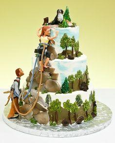 Risultati immagini per mountain cake design Themed Wedding Cakes, Themed Cakes, Wedding Cake Toppers, Unique Cakes, Creative Cakes, Beautiful Cakes, Amazing Cakes, Rock Climbing Cake, Cake Cookies