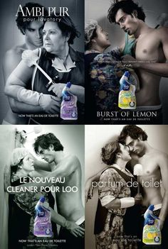I went looking for a homemade toilet cleaner and found this along the way....toilet cleaner ads styled like perfume ads. Just too funny!!!