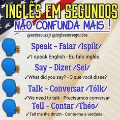 English Tips, English Study, English Class, English Lessons, English Vocabulary Words, Learn English Words, English Grammar, Teaching English, Portuguese Lessons