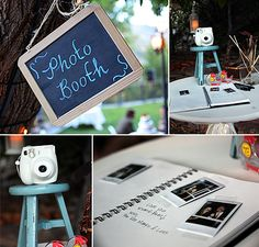 Such a cute idea for a wedding book, a Polaroid camera for the guests to take pictures of themselves and then sign under their picture.