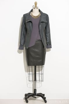 Edgy Rhonda Vegan Leather Jacket in grey Karee Faux Leather Skirted Dress Hawkins Metal Feather Collar Necklace