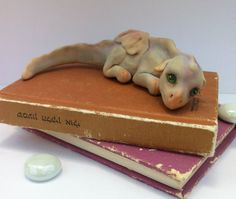 Baby dragon ooak polymer clay sculpture 45 inch by dollooly, $30.00