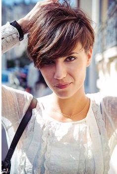 Brown pixie with caramel highlights
