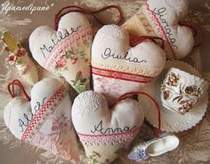 Heart pillows with lace, ribbon and your name