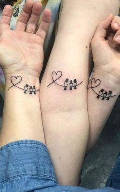 Sister Symbol Tattoos, Cousin Tattoos, Friend Tattoos Small, Mom Daughter Tattoos, Sister Tattoo Designs, Bestie Tattoo, Matching Best Friend Tattoos, Mommy Tattoos, Sibling Tattoos