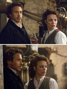 Sherlock Holmes (2009) Starring: Robert Downey, Jr. as Sherlock Holmes and Rachel McAdams as Irene Adler.