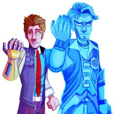 rhys and handsome jack Borderlands 1, Tales From The Borderlands, Handsome Jack, Best Games, Fictional Characters, Artworks, Bae, Video Games, Videogames