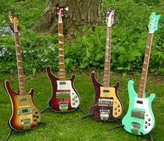 Rickenbacker Basses. I LOVE THE ONE ON THE RIGHT!!!