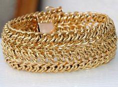 SPLENDIDE BRACELET / GOURMETTE EN OR JAUNE 18 K CARATS 46,12 gr    REF / AA 807 Gold Jewelry, Jewelry Bracelets, Jewellery, Gold Fashion, Fashion Jewelry, Boho Chic, Women Accessories, Jewels, Caftans
