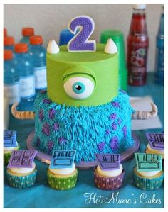 Monsters Inc cake and cupcakes.