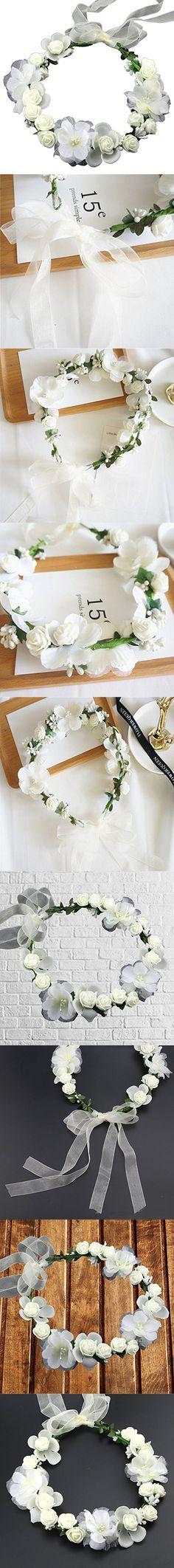 Women White Bridal Handmade Flower Crown with Adjustable Ribbon Wedding Festivals Floral Wreath Halo Headband Floral Garland