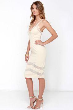 Untamed Dame Beige Midi Dress at Lulus.com!