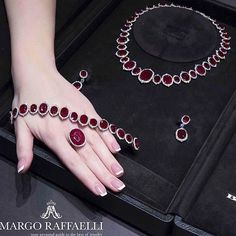 Superb rubies meet exceptional design in this #BaycoJewels Mozambique Ruby suite.