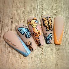 Disney Acrylic Nails, Bling Acrylic Nails, Disney Nails, Gel Nails, Disneyland Nails, Cute Simple Nails, Nail Drawing, Coffin Shape Nails, Grunge Nails