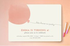 Simple Balloon Children's Birthday Party Invitations by peony papeterie at minted.com