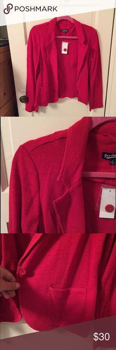 NWT Red Blazer NWT! And extra button still attached.  Very flattering and super comfortable/soft. Can bundle with matching blue  Blazer for discount! Cost 23$ total if bundled! Ambiance Apparel Jackets & Coats Blazers