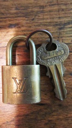 Fabulous Brass Vintage French Lock and Vintage Key OOAK