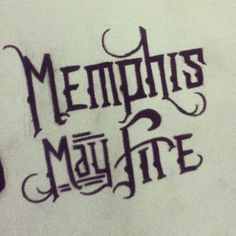 Band logo: Memphis may fire  Permanent marker on canvas  Hand drawn