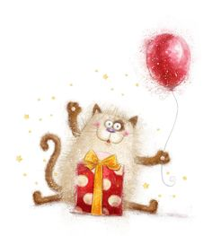 Illustration about Cute cat. Cat with gift and balloon.Hand drawn cat isolated on white background. Illustration of celebration, generosity, illustration - 48731763 Happy Birthday Kitten, Happy Birthday Images, Cat Birthday, Birthday Month, Birthday Pictures, Humor Birthday, Birthday Congratulations, Birthday Greeting Cards, Birthday Clipart