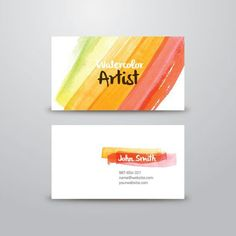 beautiful piece of business card template contains a front and back design made with abstract watercolor paint stains