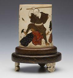 Antique Japanese Lacquered & Carved Ivory Vase On Stand Meiji 1868 - 1912 (Japan)