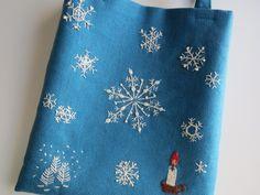 刺繍のミニバッグ(雪の結晶) 2x