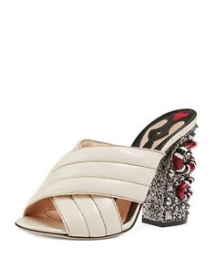 Webby+Quilted+Leather+Snake-Heel+Mule+Sandal,+Mystic+White+by+Gucci+at+Bergdorf+Goodman.
