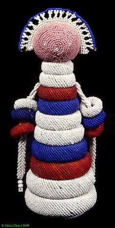 Ndebele Beaded Doll with Multiple Rings, African