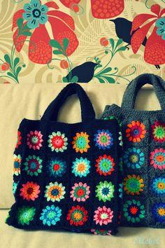 ellebel, bolso, granny squares, crochet bag, bold colors