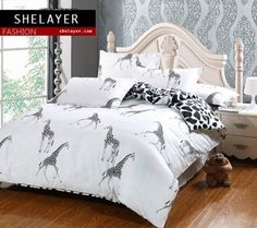 Call of the Wild Themed 100% Cotton 4-Piece Bedding Set - Shelyaer.com #cheap #bedding #sets Cheap Bedding Sets, Bedding Sets Online, Call Of The Wild, Buy Cheap, Cotton, Furniture, Home Decor, Decoration Home, Room Decor