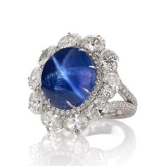 """Women's Jewelry Association - WJA DIVA Design Competition 2015 Winners, Classical- Caroline Chartouni, Caronline C, white gold """"Astra"""" ring featuring a star sapphire accented with ctw. Fine Jewelry, Women Jewelry, Jewelry Box, Fashion Jewelry, Titanic Jewelry, Sapphire Jewelry, Sapphire Rings, Edwardian Jewelry, International Jewelry"""