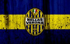Download wallpapers FC Hellas Verona, 4k, logo, Serie A, stone texture, Hellas Verona, grunge, soccer, football club, Hellas Verona FC