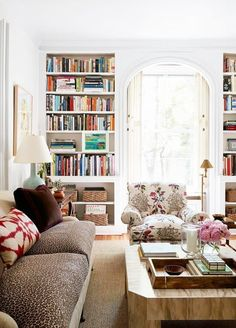 Leopard sofa and those built-ins and light!