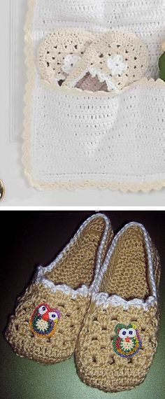Granny square slippers, free pattern from Lilly Sugar 'n Cream  #crochet