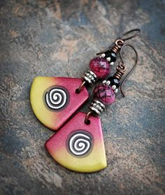 Funky Chic. Artisan made earrings. Polymer clay beads. Green