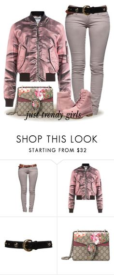 """""""bomber jacket fall style"""" by justtrendygirls ❤ liked on Polyvore featuring Lara, Moschino, ESCADA, Gucci and Timberland"""