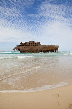 Wreck of the Cabo Santa Maria, on the coast of Boa Vista, Cape Verde.