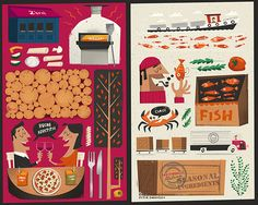 Illustrated Menu Cover by Peter Donnelly, via Behance