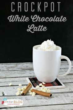 Crockpot White Chocolate Latte | Make this hot drink in your Crockpot. Great for holiday parties or sitting by the firepit.  Find the recipe on TodaysCreativeLife.com
