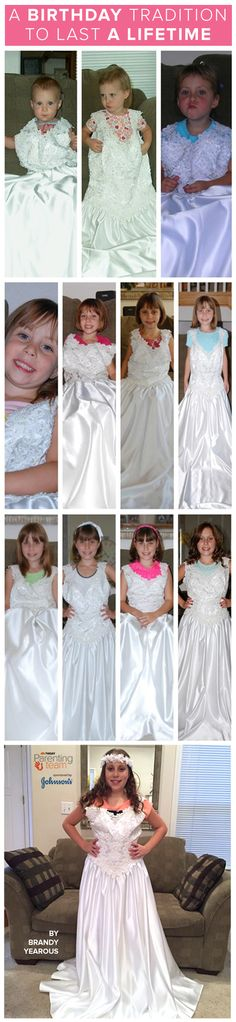 @brc23 marks each of her daughter's birthdays by having her try on her wedding dress. It's a creative birthday tradition idea that will last @brc23 and her daughter a lifetime. One day they can both look back all of the photos and see how she's slowly grown into the dress.