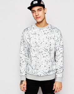 ASOS Sweatshirt In Scuba With Paint Splat Print
